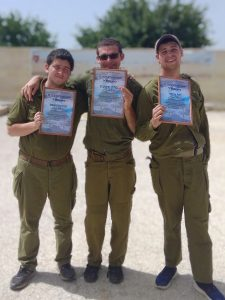 Receiving awards in ceremony at IDF base