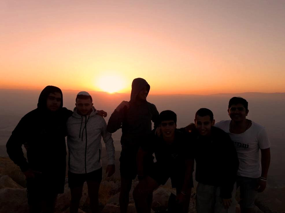 Sunrise with boys from Ramot school