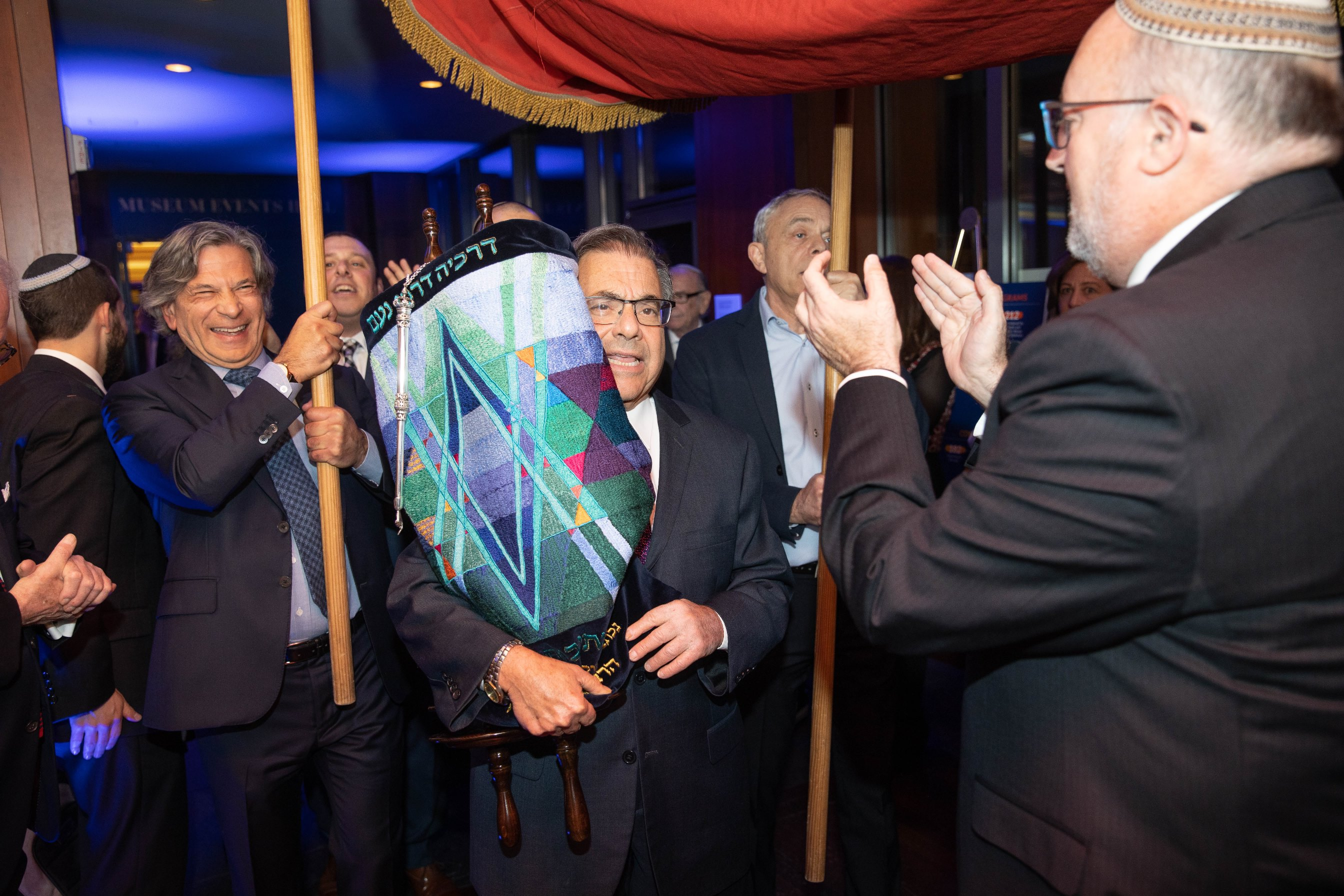 Rabbi Riskin with sefer torah