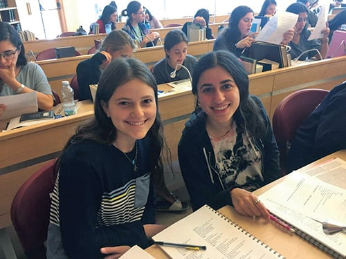 girls studying in beit midrash