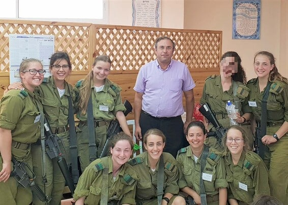 Rav Ohad with students serving in the IDF