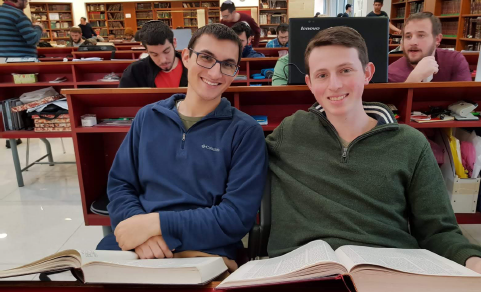 Baruch Greenbert with Itay Jesselson in the Beren Beit Midrash